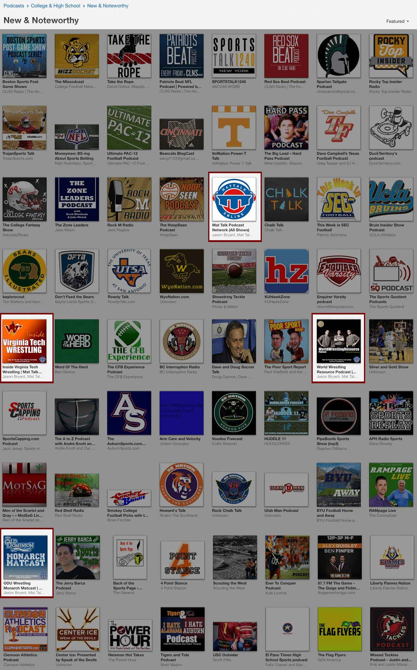 Blog: Mat Talk shows in iTunes' New & Noteworthy