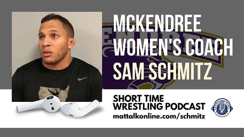 McKendree women's coach Sam Schmitz and a National Duals title